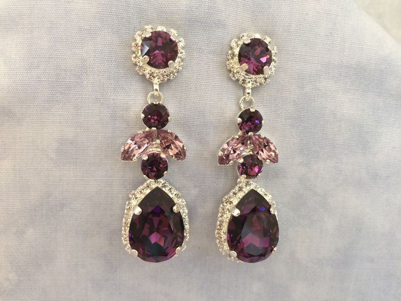 Amethyst Swarovski Crystal Embellished Teardrop Dangle Earrings Product Images