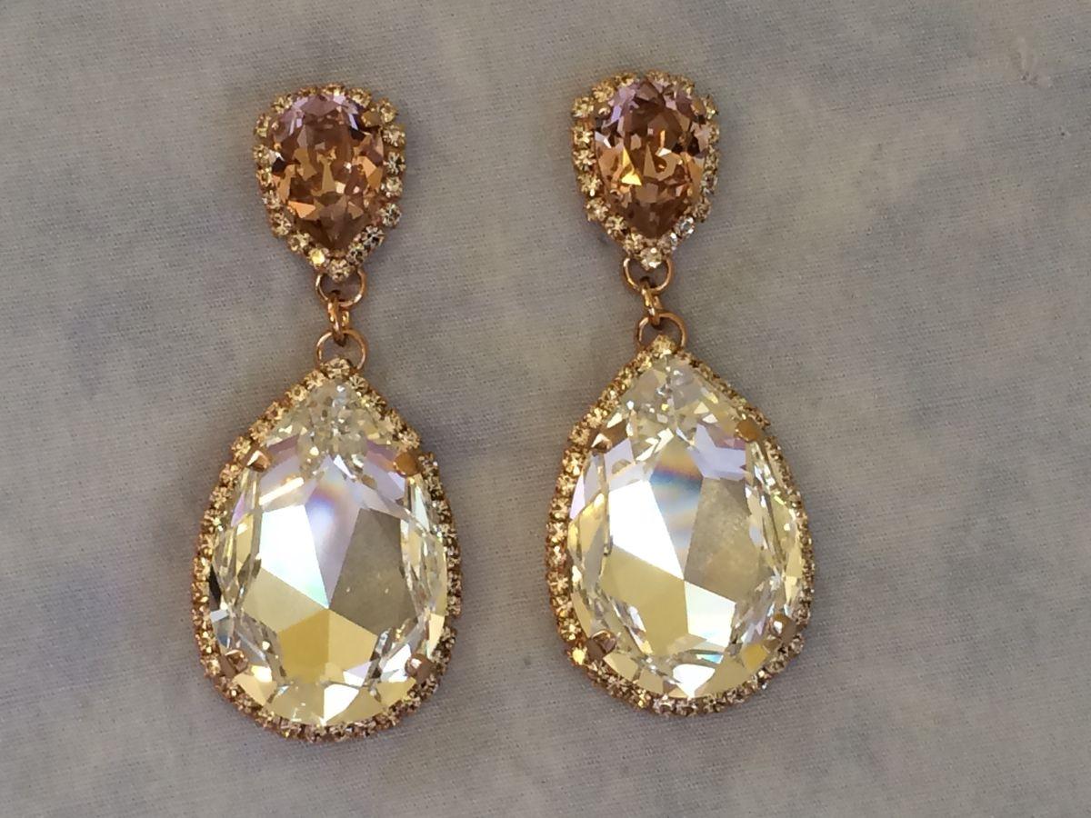 Blush Swarovski Crystal Embellished Teardrop Earrings