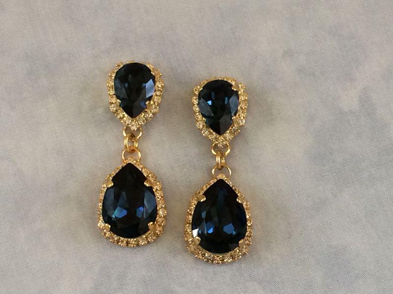 Navy Blue Swarovski Crystal Embellished Double Teardrop Bridal Earrings Product Images