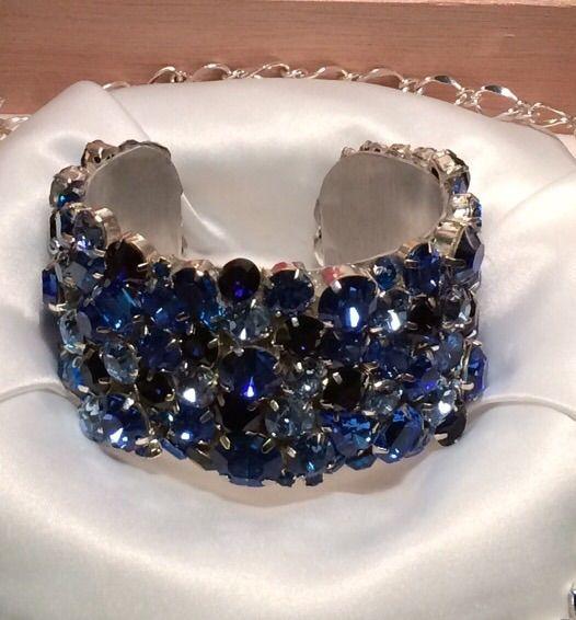 Royal Blue Swarovski Crystal Bridal Cuff Bracelet The