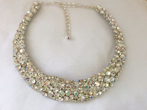 Swarovski,Crystal,Mosaic,Bridal,Collar,Statement,Necklace,statement necklace, crystal necklace, swarovski crystal necklace, bridal necklace, bib necklace, wedding necklace