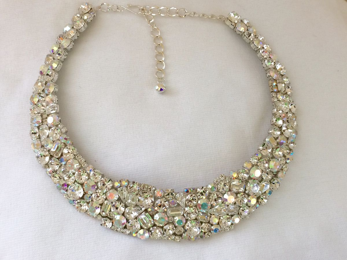 Swarovski Crystal Mosaic Bridal Collar Statement Necklace