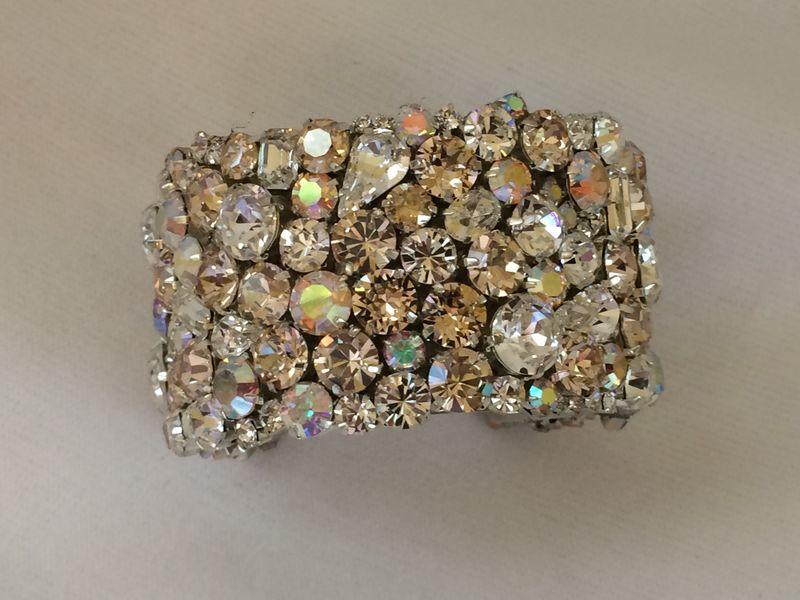 Champagne Crystal Wedding Cuff Bracelet