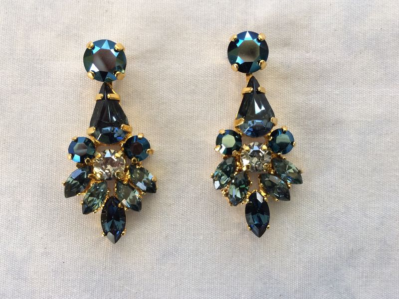 Swarovski Navy Blue Crystal Dangle Bridal Statement Earrings Product Images Of