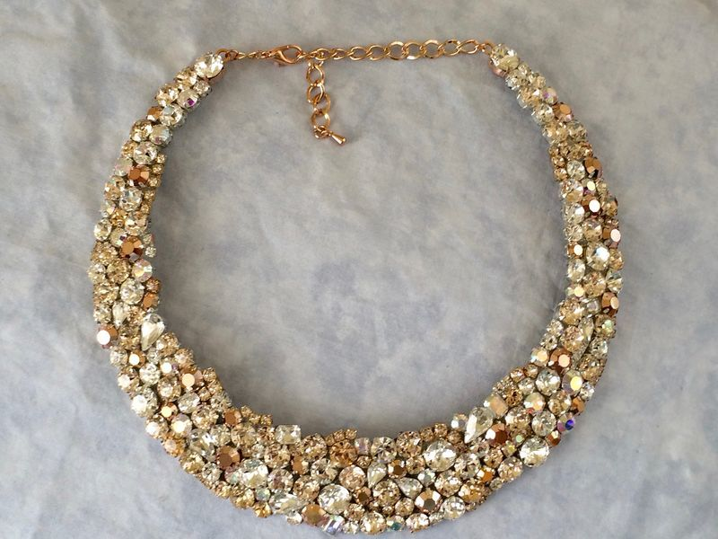 Rose Gold Swarovski Crystal Bridal Statement Necklace The Crystal Rose Bridal Jewelry And Accessories