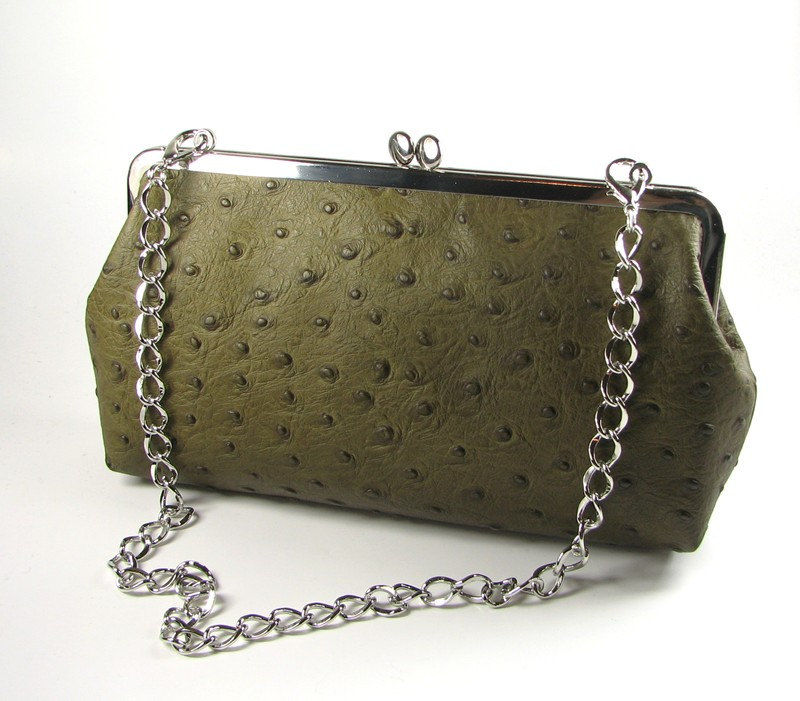Ostrich Embossed Leather Frame Clutch with Chain Bag Handbag On Sale