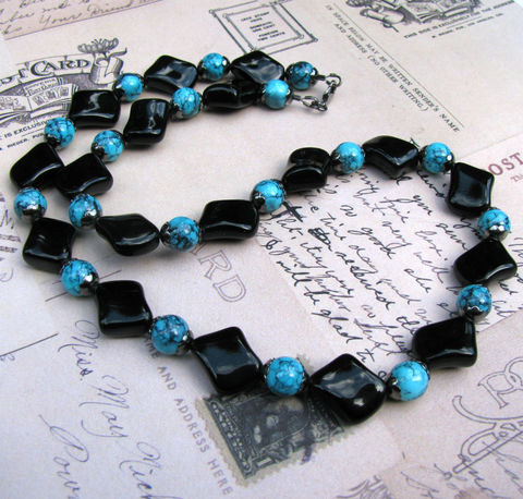 Black,and,Blue,Marbled,Glass,Necklace,,Handmade,Beaded,Necklace,glass,czech glass,gunmetal,jewelry,necklace,blue marbled jewelry,blue necklace,black necklace,curvy diamond,glass diamond,blue jewelry,black jewelry,blue beaded necklace,black beaded jewelry,marbled beads,glass necklace,black glass necklace,blue glass nec