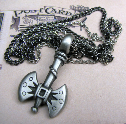 Axe,Necklace,/,Men's,Jewelry,Masculine,Greyscale,pewter,gunmetal,silver plated brass,jewelry,necklace,axe necklace,mens necklace,masculine necklace,necklace for men,greyscale necklace,greyscale jewelry,double chain,weapon necklace,unisex necklace,unisex jewelry,grey axe,pewter necklace,axe jewelry