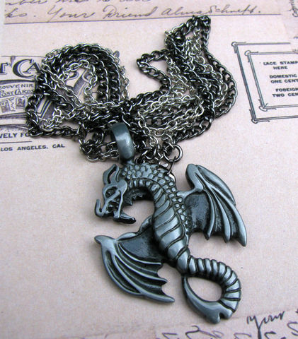Dragon,Chain,Necklace,/,Men's,Jewelry,Masculine,Greyscale,pewter,gunmetal,silver plated brass,jewelry,necklace,dragon necklace,masculine necklace,chain necklace,dragon jewelry,gothic necklace,gothic jewelry,necklace for men,gothic dragon,double strand,grey necklace,grey dragon,unisex necklace,unisex jewelry