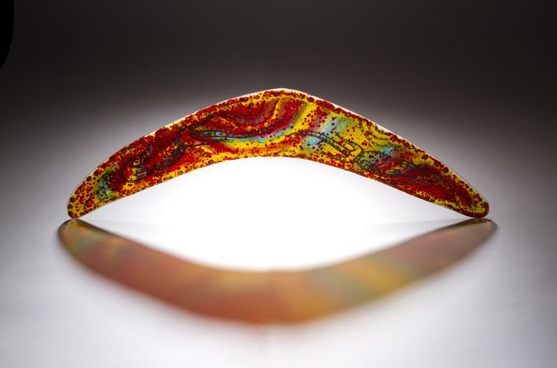 Aboriginal Art Glass Boomerang - product images