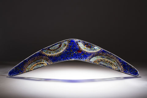 Aboriginal,Art,Glass,Boomerang,02, art glass, giftware, aboriginal art, Peter Farmer, Western Australian Art