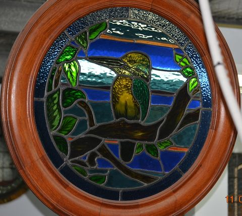 1,x,Hand-Pained,King,Fisher,Stained,Glass,Porthole