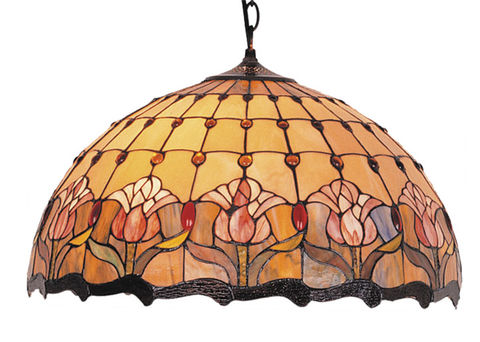 RED,TULIP,HANGING,LAMP,pendant lamp shade; stained glass lamp shades;tiffany