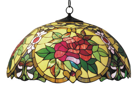 RED,CAMELLIA,HANGING,LAMP,pendant lamp shade; stained glass lamp shades;tiffany