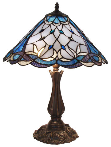 TALIA-BLUE,TABLE,LAMP,pendant lamp shade; stained glass lamp shades;tiffany;table lamp