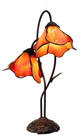 TWIN,ORANGE,LOTUS,LAMP,pendant lamp shade; stained glass lamp shades;tiffany;table lamp