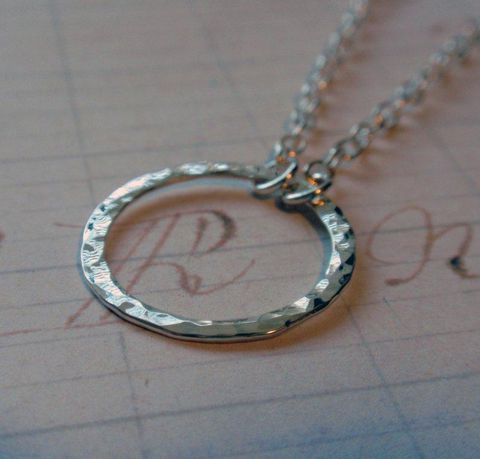 Eternity,Circle,Necklace,in,Sterling,Silver,Hammered,Hoop,Medium,Size,Jewelry,Metalwork,sterling_silver,eternity,hoop,circle,o,pendant,hammered,eternity_necklace,circle_necklace,hammered_hoop,eternity_circle,hammered_necklace,organic,sterling_silver_wire,chain_and_findings