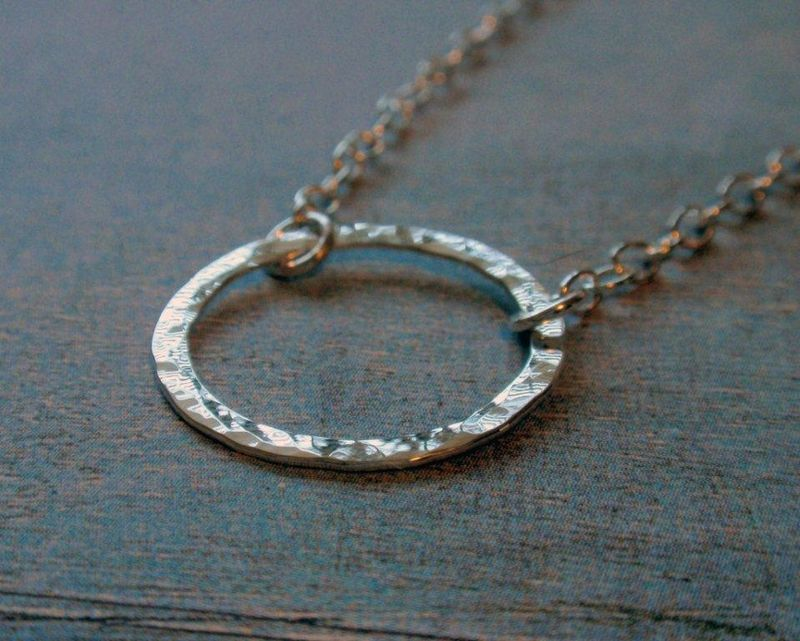 Eternity Circle Necklace in Sterling Silver Hammered Hoop in Medium Size - product image