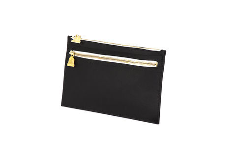Black,Primrose,Zipper,Clutch, Cork, zips, Vegan