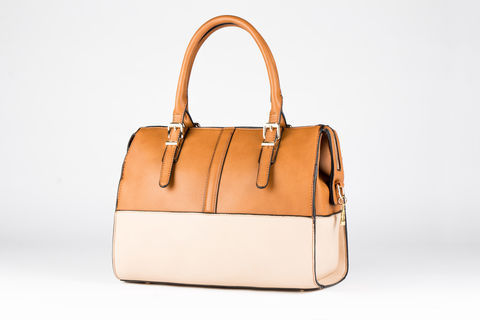 Tan,Tone-Time,Handbag,Vegan, PU, Two tone