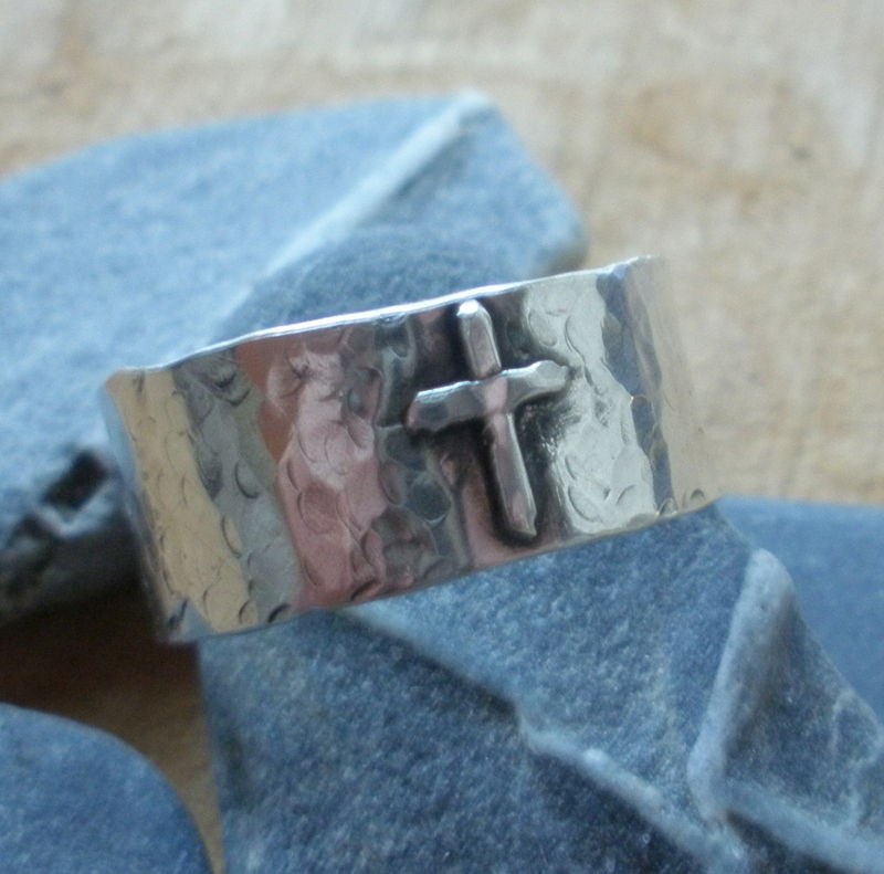 Sterling Silver Rustic Cross Ring - product images  of