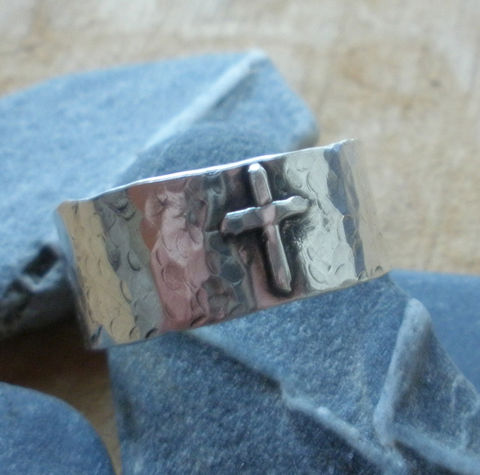 Sterling,Silver,Rustic,Cross,Ring,Cross Ring, Christian Ring, Men's Cross Ring, Sterling Silver Cross Ring, Women's Cross Ring
