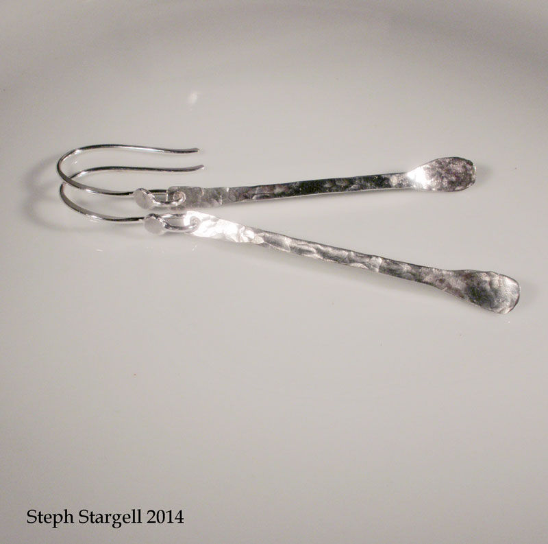 Hammered Sterling Silver Raindrop Earrings - product images  of