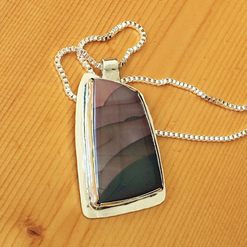 Willow Creek Jasper Bezel Set Sterling Silver Necklace - product images  of