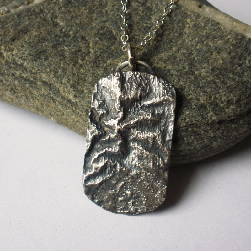 Take A Hike Reticulated Sterling Silver Topographic