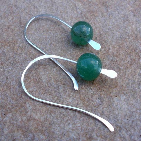 Green,Jade,and,Sterling,Silver,Earrings,jewelry,earrings,stone,dangle,metalwork,green,jade,bridal,sterling_silver,simple,facets,all_season,modern,cyber_monday_etsy,green_jade
