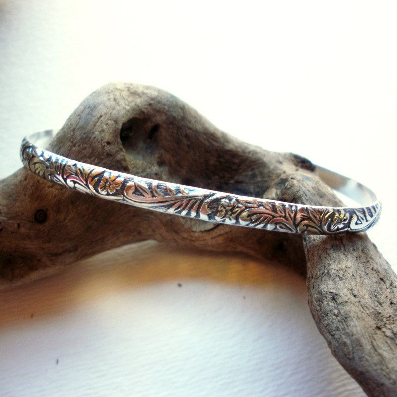 Sterling Silver Modern Floral Cuff Bracelet - product images  of