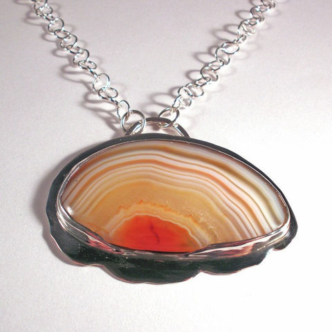 Agate,and,Sterling,Silver,Necklace,-,Bezel,Set,Indonesian,Banded,Pendant,Jewelry,Stone,agate_necklace,silver_agate,silver_necklace,stone_necklace,bandad_agate,cabochon_necklace,bezel_set,cabochon,sunset_scene,metalsmithed,sstargell,translucent_agate,steph_stargell,indonesian_banded_agate,sterling_silver,fine_silver