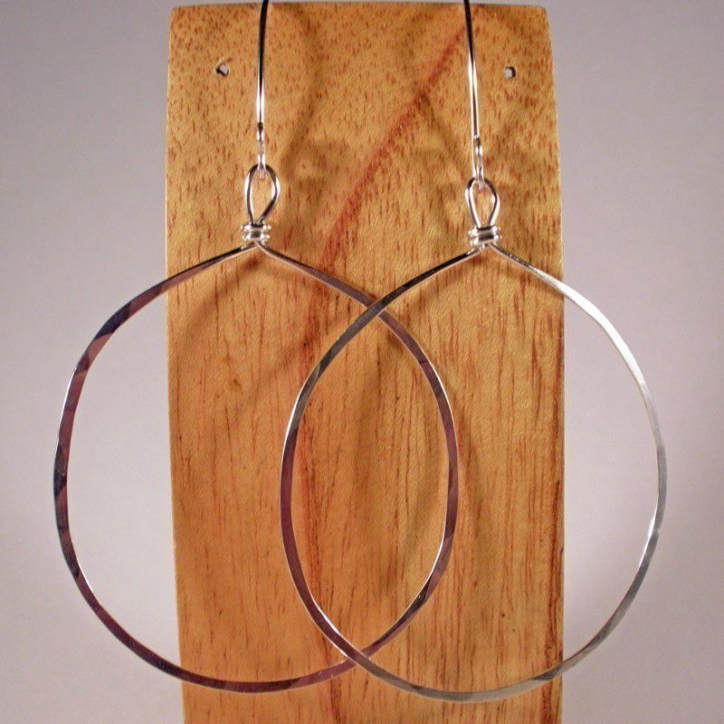 Large Sterling Silver Circle Hoop Earrings - product images  of