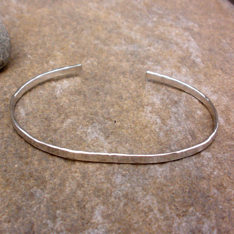 Sterling Silver Cuff Bracelet - Hammered Sterling Cuff Bracelet - product images  of