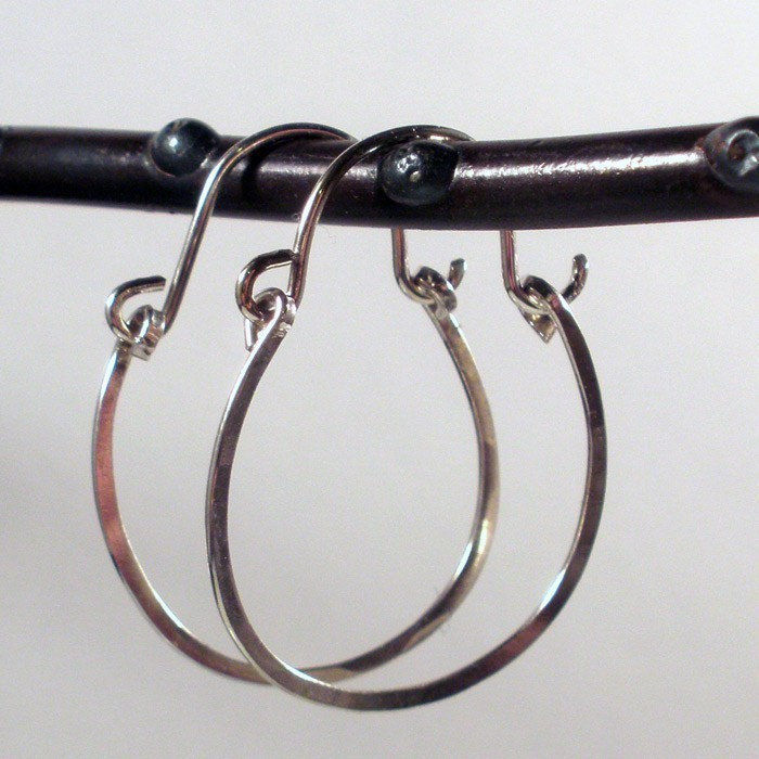 Sterling Silver Hoop Earrings - Lovely Hammered Silver Swinging Hoops - product images  of