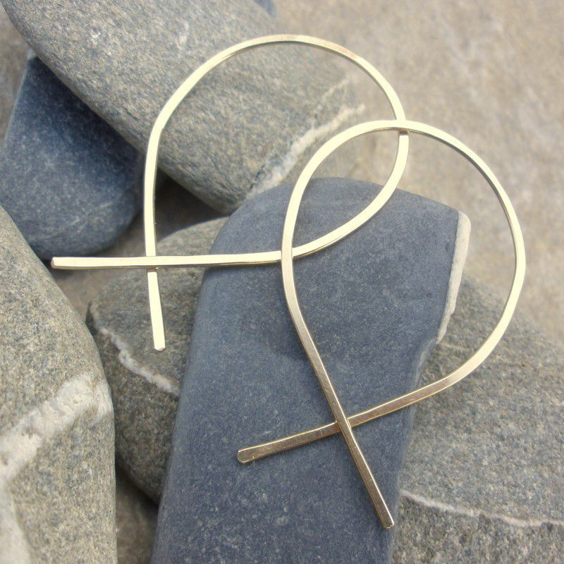 14K gold fill Hoop Earrings - XL -  Hammered Fish Hoops - product images  of