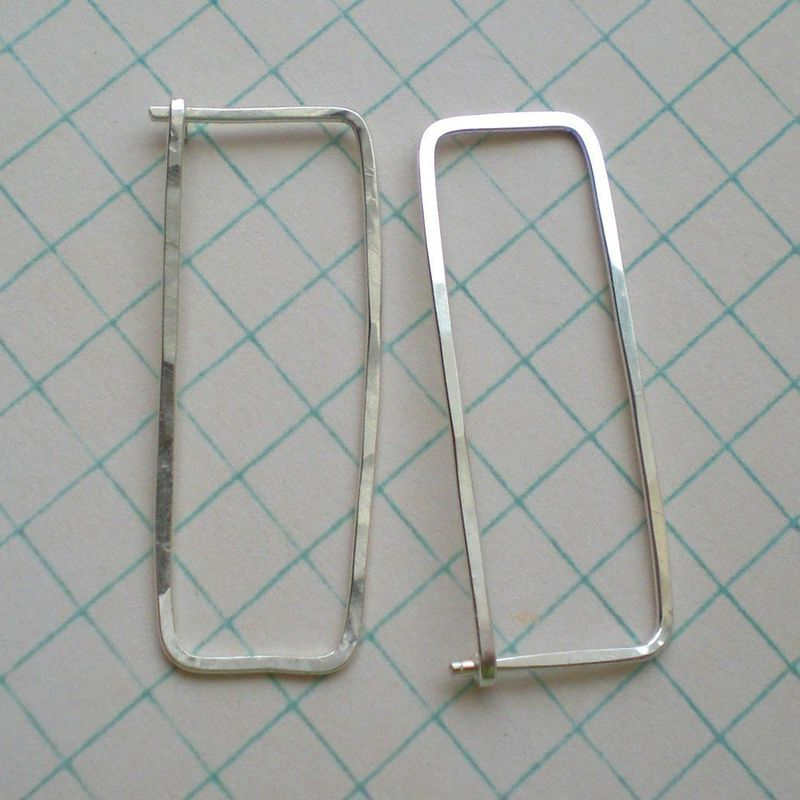 Sterling Silver Rectangle Hoop Earrings - Long Hammered - Klimt - product images  of