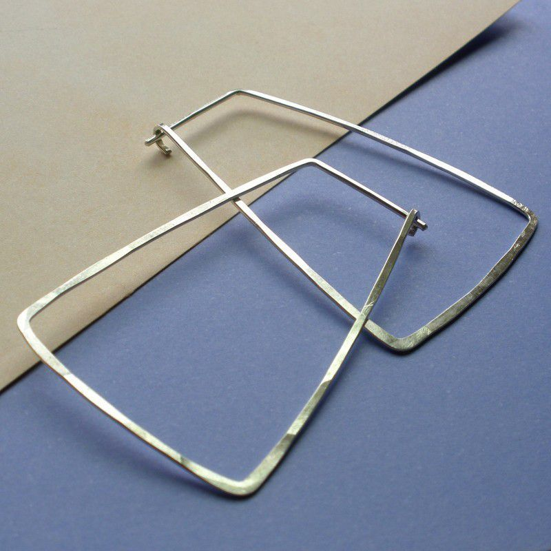 Sterling Silver Hammered  Trapezoid Hoop Earrings - Trapezoid Earrings - product images  of