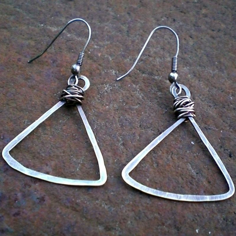 Sterling Silver Hammered Triangle Earrings in Oxidized Sterling Silver - product images  of