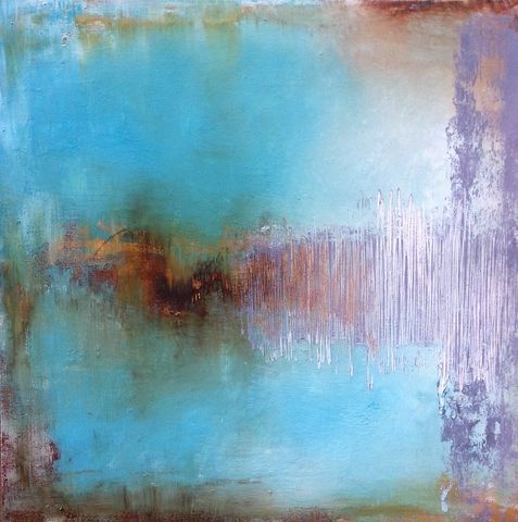 Eighteen,Eighty,Two,abstract, art, painting, evocative, emotive, peaceful, tranquil, distressed, complimentary colours, blue, turquoise, brown, yellow, grey, gray, original artwork, signed, interior design, interiors, decor, unique, vibrant