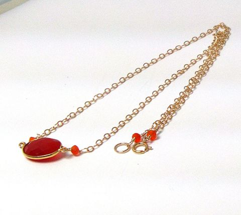 Gold,Plated,Bezel,13,x,16,Oval,Carnelian,on,a,14Kt,filled,Chain,Necklace,bezel set, gold plated, faceted semi precious gem stone, carnelian, rondelle, faceted carnelian