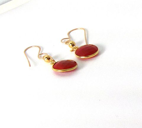 Gold,Plated,Silver,Bezel,Faceted,Carnelian,Earrings,with,gold,plated,bead,carnelian, semiprecious gem, gold plated, bezel, womens, earring, 14Kt gold fill