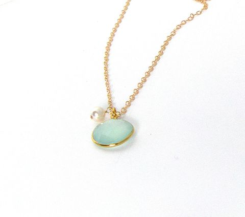 Gold,Plated,Bezel,Sea,Green,Chalcedony,on,a,14Kt,filled,Chain,Necklace,bezel set, gold plated, faceted gem stone,  sea green, sea foam, chalcedony, womans, necklace, swarvoski glass pearl