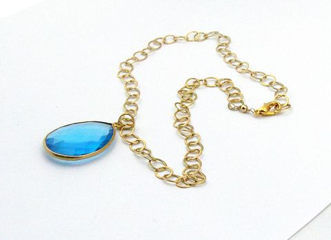 blue,teardrop,hydro,quartz,with,gold,plated,bezel,on,14kt,fill,chain,blue topaz, hydro quartz, gold plated, gold fill, womans, necklace, lobster clasp, gold plated bead