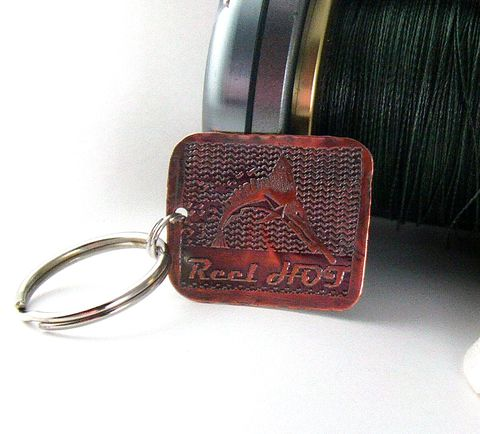 etched,Copper,man's,key,chain,,marlin,billfish,charm,,reel,HOT,Key ring, key chain, man's, marlin, etched, copper, patina, father's day, fishing