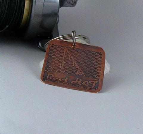 etched,Copper,man's,key,chain,,fishing,rod,and,reel,charm,,HOT,Key ring, key chain, man's, bass, etched, copper, patina, man's birth day, father's day, fishing