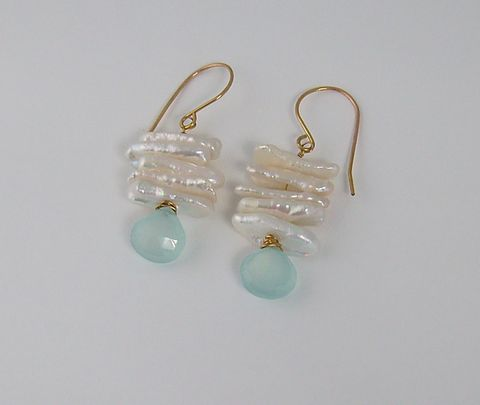 Earrings,Biwa,Pearl,with,Blue,Chalcedony,briolette,on,14kt,Gold,Filled,Ear,wires,14KT Gold Filled Wire, Earrings, Biwa, Fresh Water Pearl, Blue, Chalcedony, Briolette