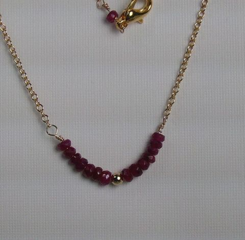 Necklace,Ruby,faceted,rondelles,on,14Kt,Gold,filled,Chain, rondelles, 14Kt. Gold Filled, necklace, gold plated, beads, lobster clasp