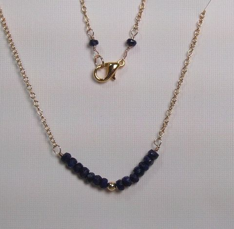 Necklace,Sapphire,faceted,rondelles,on,14Kt,Gold,filled,Chain,sapphire, rondelles, 14Kt. Gold Filled, necklace, gold plated, beads, lobster clasp