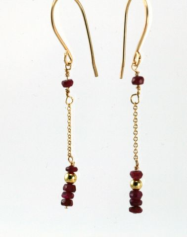 gold,ruby,dangle,earrings,EGFRGP01,14kt gold filled wire, gold earrings, faceted rubies, gold chain, ruby beads
